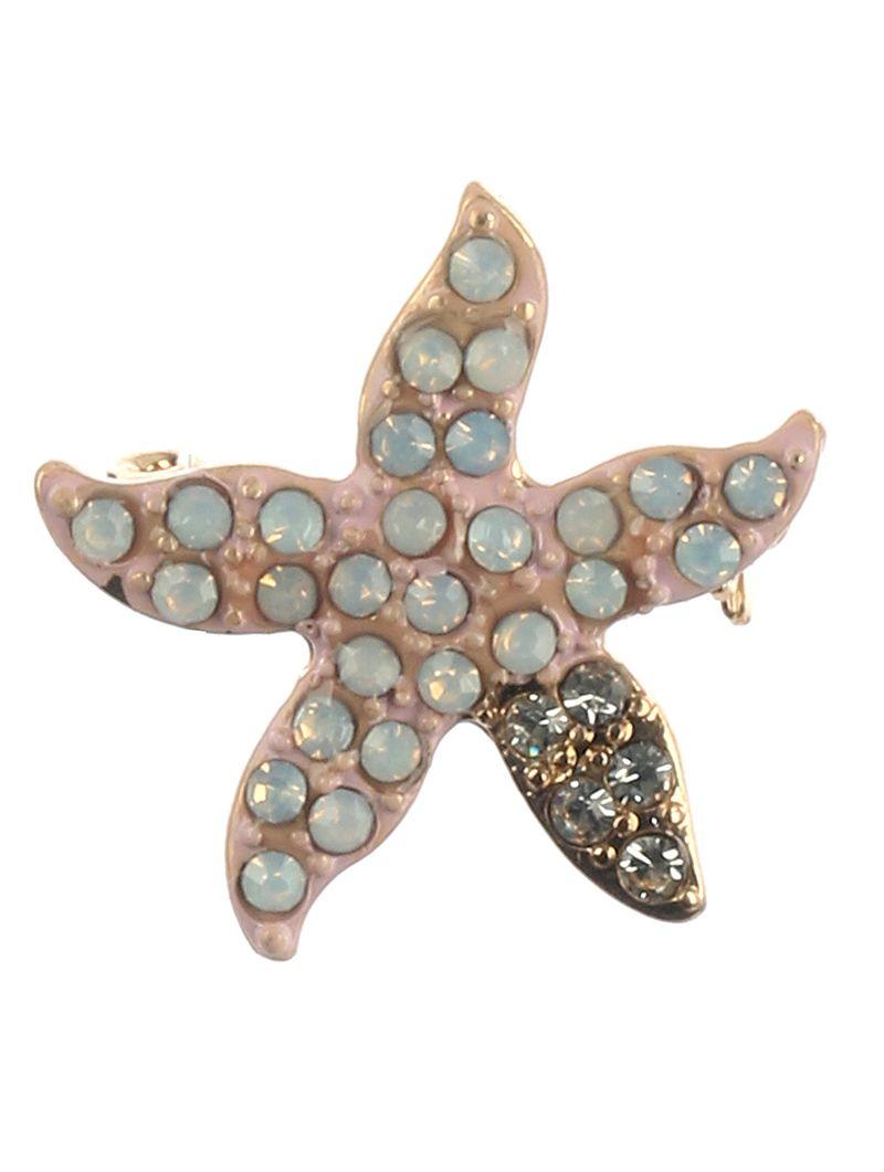 Pave Crystal Stone Metal Starfish Epoxy Coated