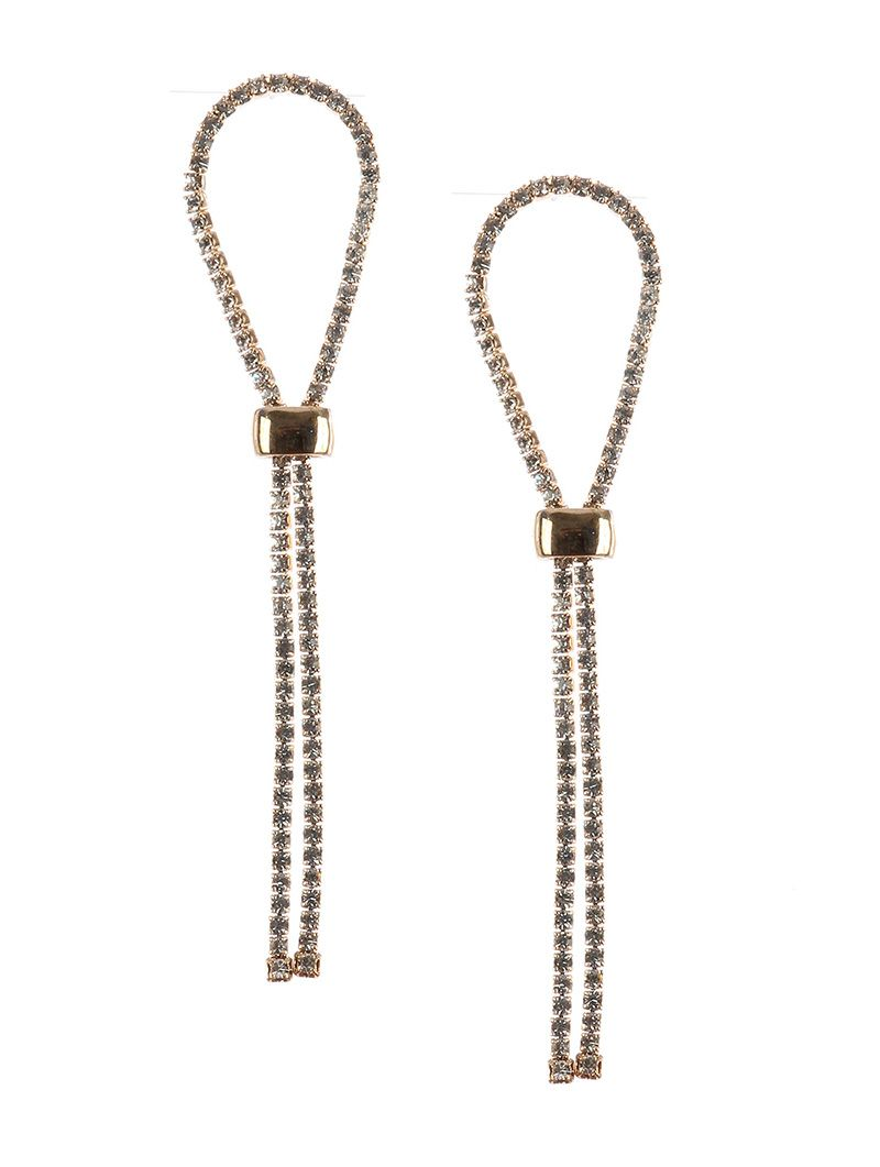 Rhinestone Drop Ribbon Adjustable Metal Clasp