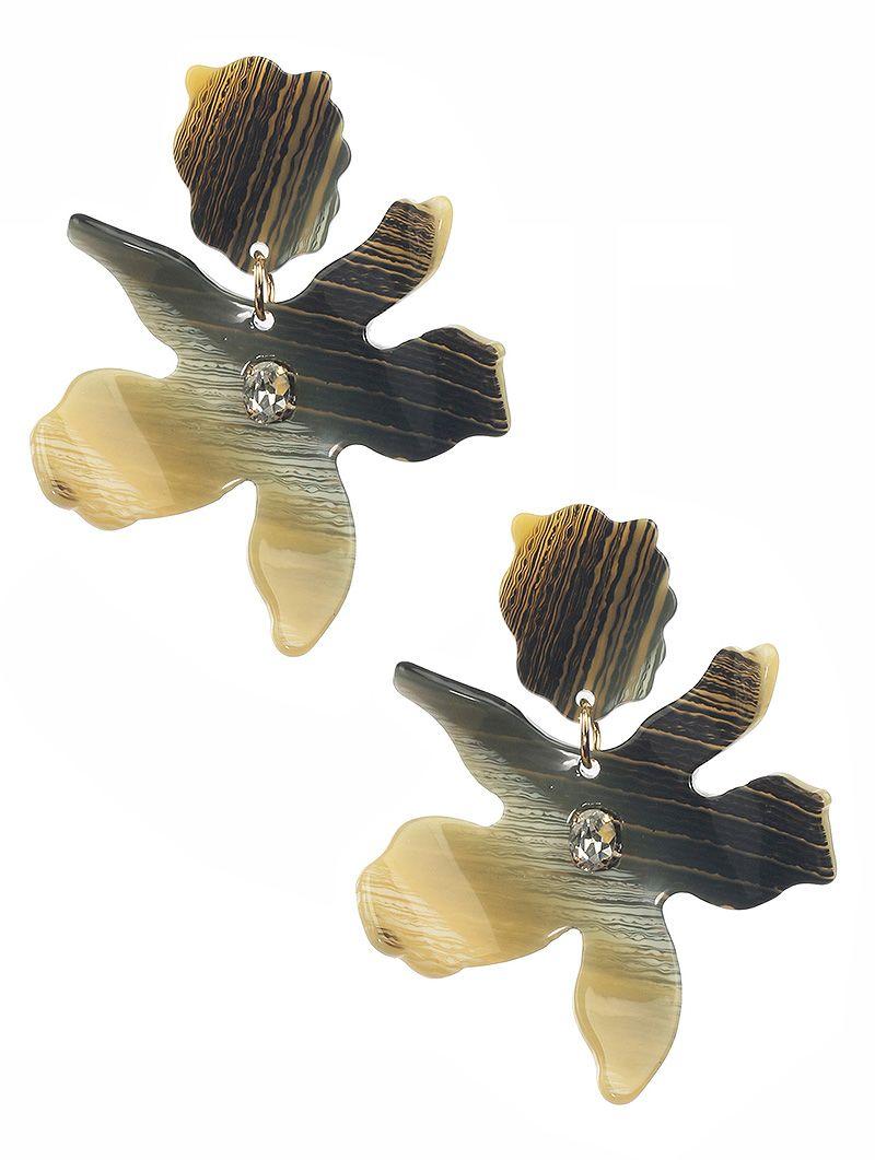 Tortoise Finish Acrylic Flower Dangle Glass Stone