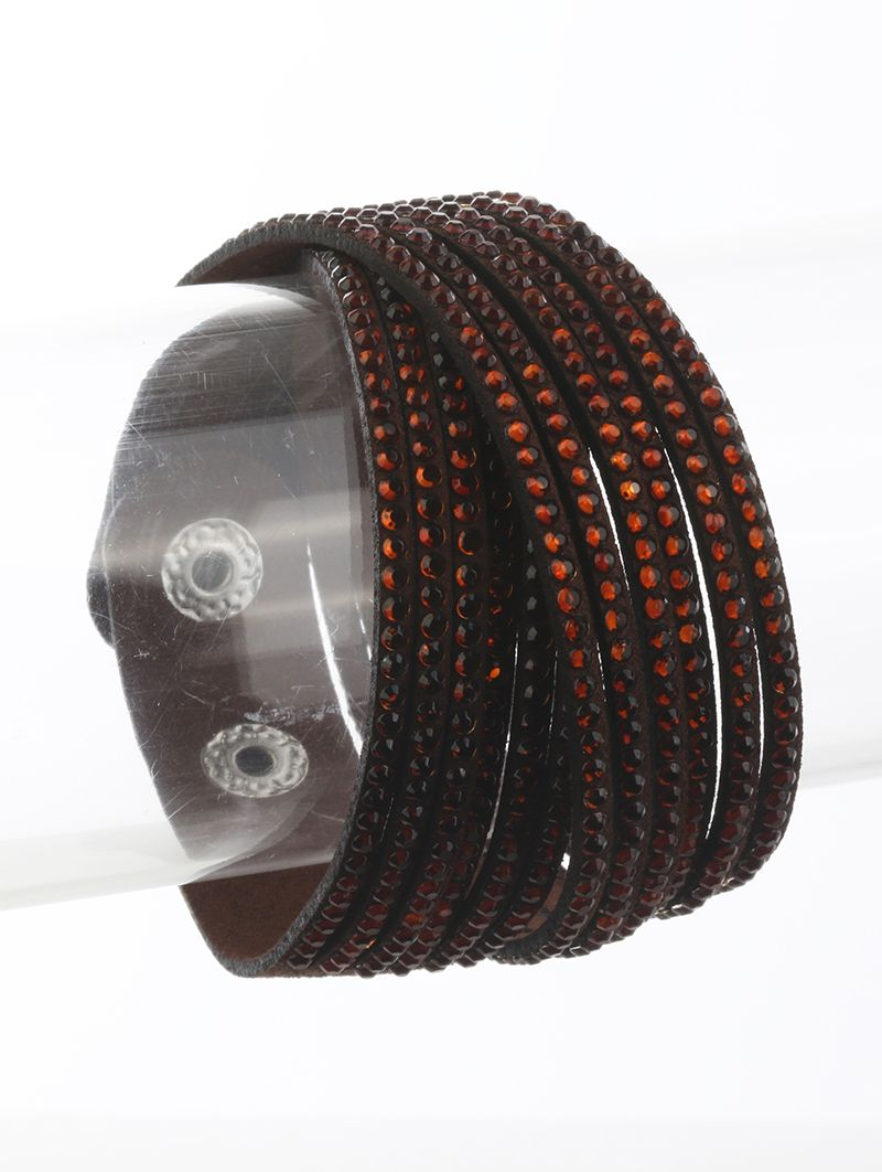 Multi Strand Faux Suede Band Wraparound Pave Crystal Stone