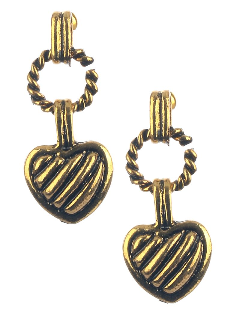 Aged Finish Metal Heart Dangle Textured