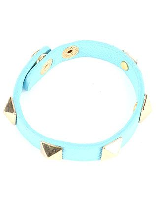 Metal Spike Stud Faux Leather Band Snap Button Closure
