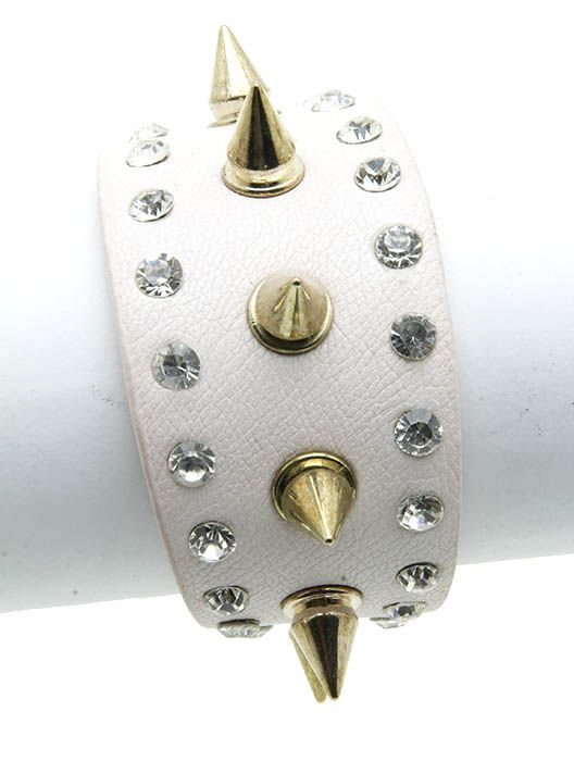 Metal Spike Leather Band Crystal Stone