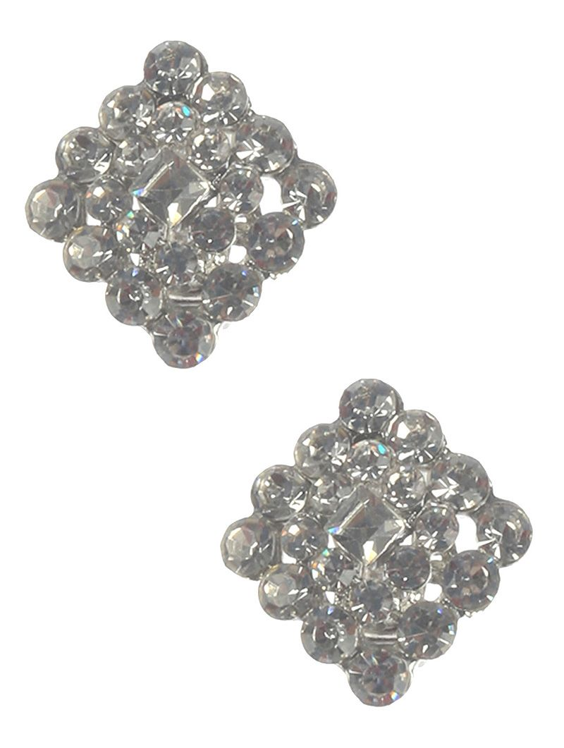 Crystal Stone Cluster Clip On Metal Frame