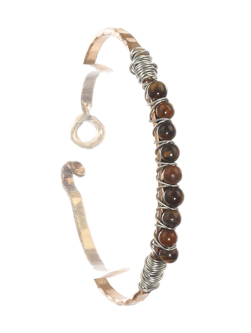 Natural Stone Finish Bead Hammered Metal Bangle Wire Wrapped