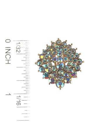 Aurora Stone Cluster Clip On Sunburst Metal Frame
