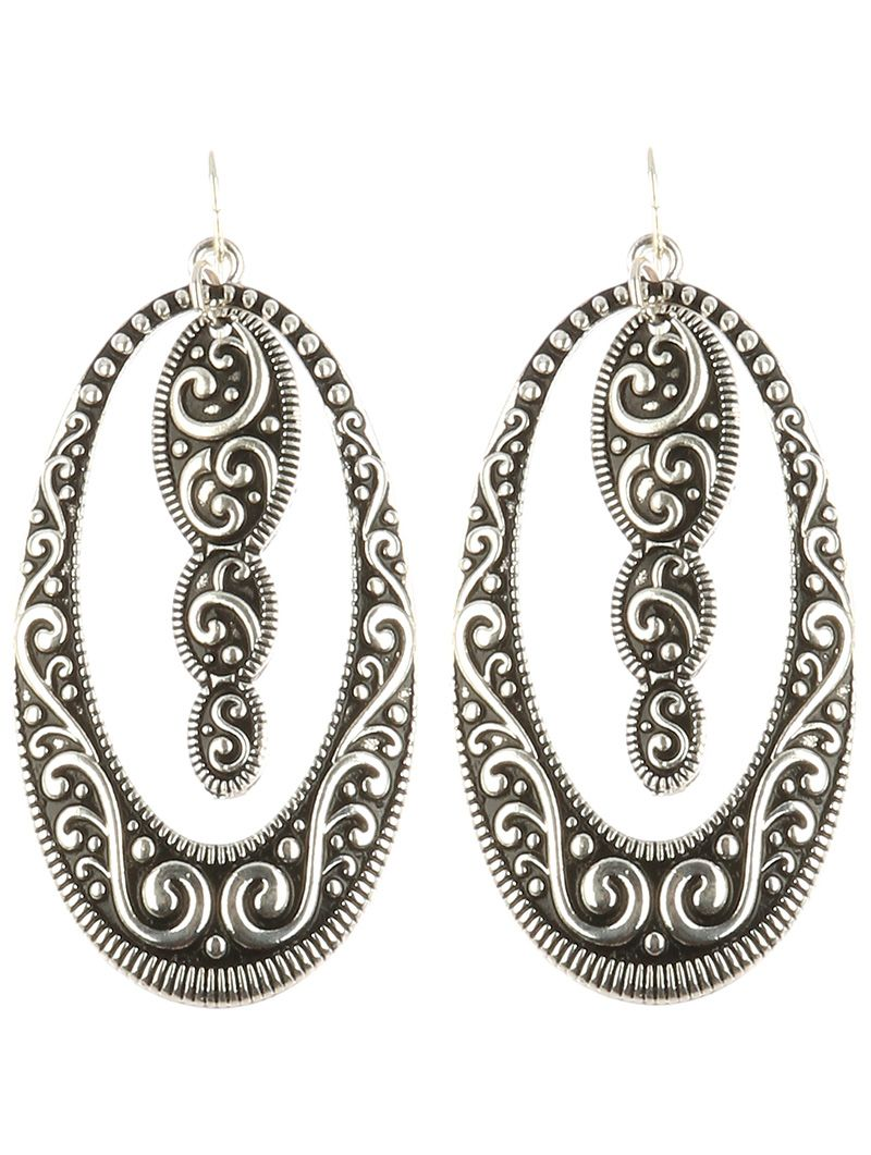 Antique Inspired Oval Dangle Aged Finish Metal