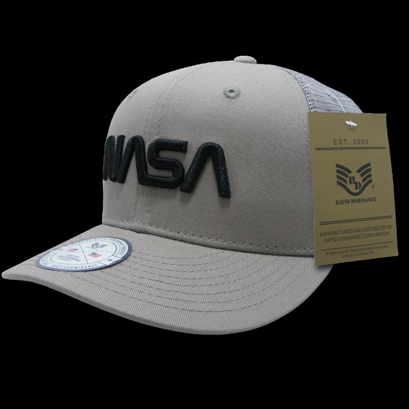Nasa Cotton Trucker Cap, Worm, Grey