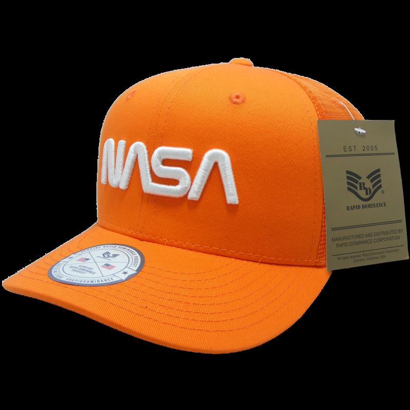 Nasa Cotton Trucker Cap, Worm, Orange