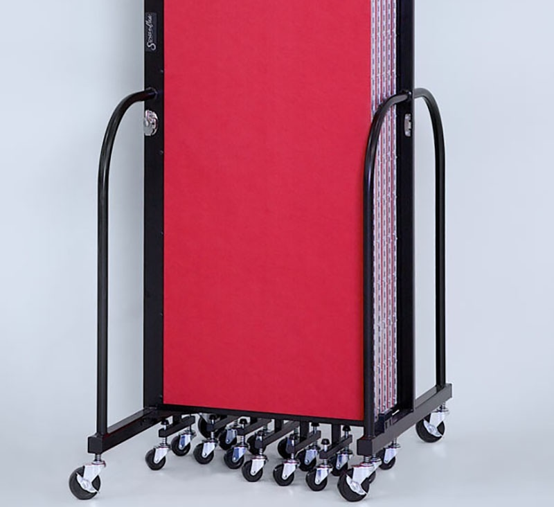 """Screenflex Standard 5 Panel Room Divider: 4'H x 9'5""""L, Upgraded Fabric and Vinyl Colors"""