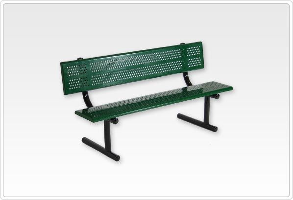 SportsPlay Standard Playground Bench with Back: 8', Beveled Perforated