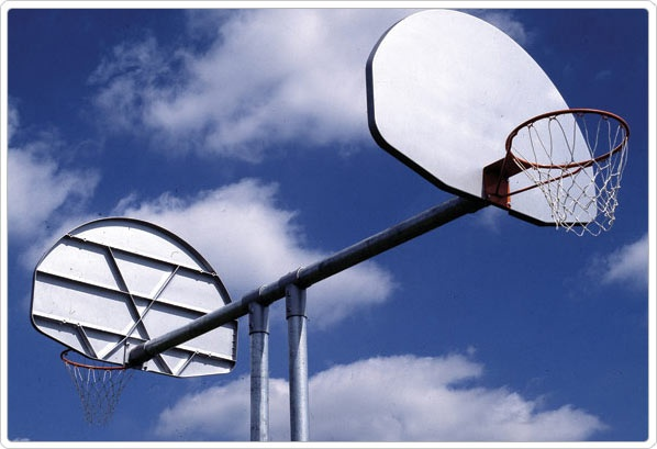 SportsPlay Double Basketball Backstop: Aluminum Fan - Basketball Equipment