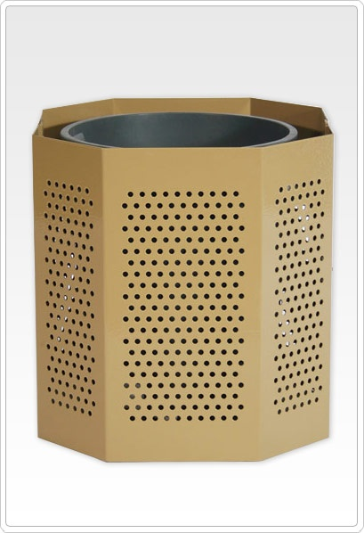 SportsPlay Steel Trash Can: 32 Gallon, Perforated - Playground Equipment