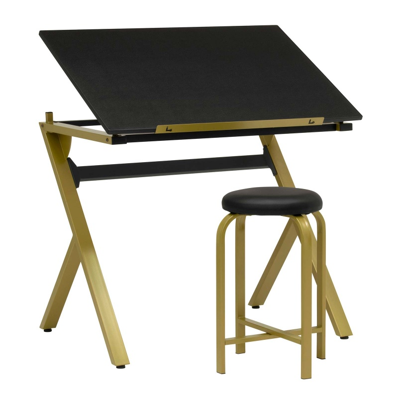 """Stellar Drawing Table With 36"""" Wide Adjustable Top And Padded Stool 2-piece Set In Gold/black - Item # 13354"""