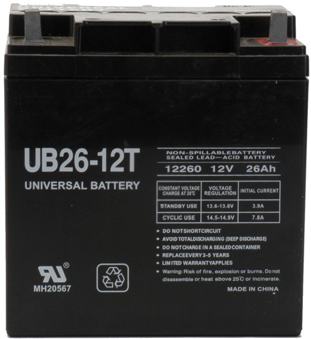 UPG Sealed Lead Acid AGM: UB122260T, 26 AH, 12V