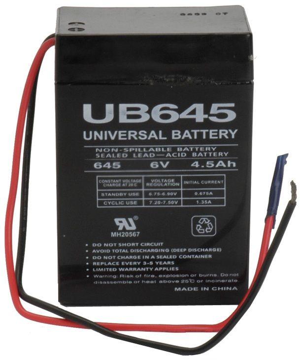 UPG Sealed Lead Acid AGM: UB645WL, 4.5 AH, 6V