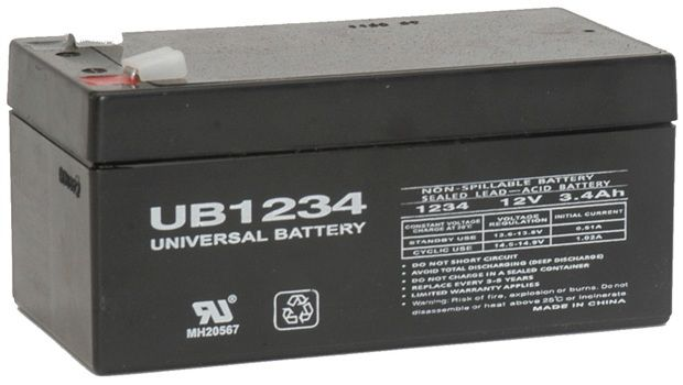 UPG Sealed Lead Acid AGM: UB1234, 3.4 AH, 12V