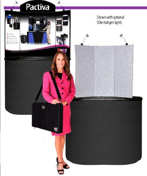 "Pactiva 4 Panel 35"" Tall Tabletop: Black/Purple with Removal Header, Lumastar & Padded Bag"