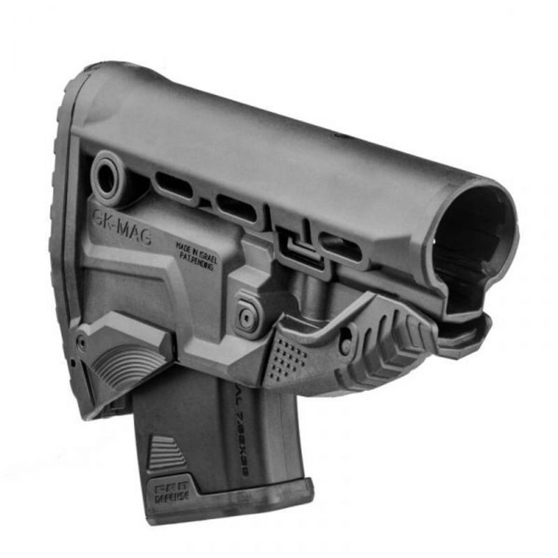 Gk-mag Fab Defense Ak Survival Buttstock With Built In Mag Carrier For All Ak Magazine, Color: Black