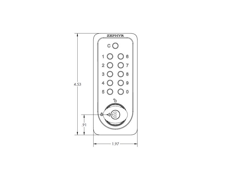 Push Button Lock Push Button Mechanical Lock, Vertical Mount - Satin Nickel Finish